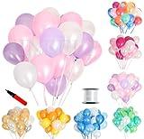 (ジンセルフ) JINSELF あんしん極厚風船 100個セット 弾力2倍 高品質 キラキラ光沢 誕生日 結婚式 パーティー 飾り 装飾 空気入れ ピンクパープル