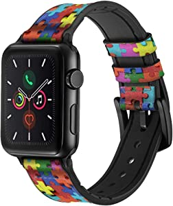CA0104 Puzzle Leather & Silicone Smart Watch Band Strap for Apple Watch iWatch Size 38mm/40mm