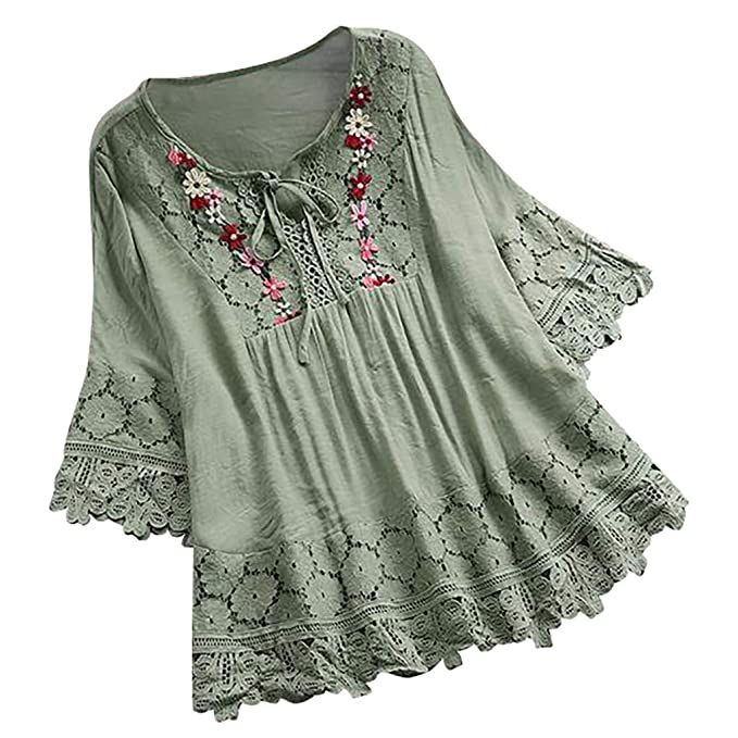 c0b30d63006d8 Amazon.com: Aniywn Women Round Neck Lace Up Lace Patchwork Flare ...