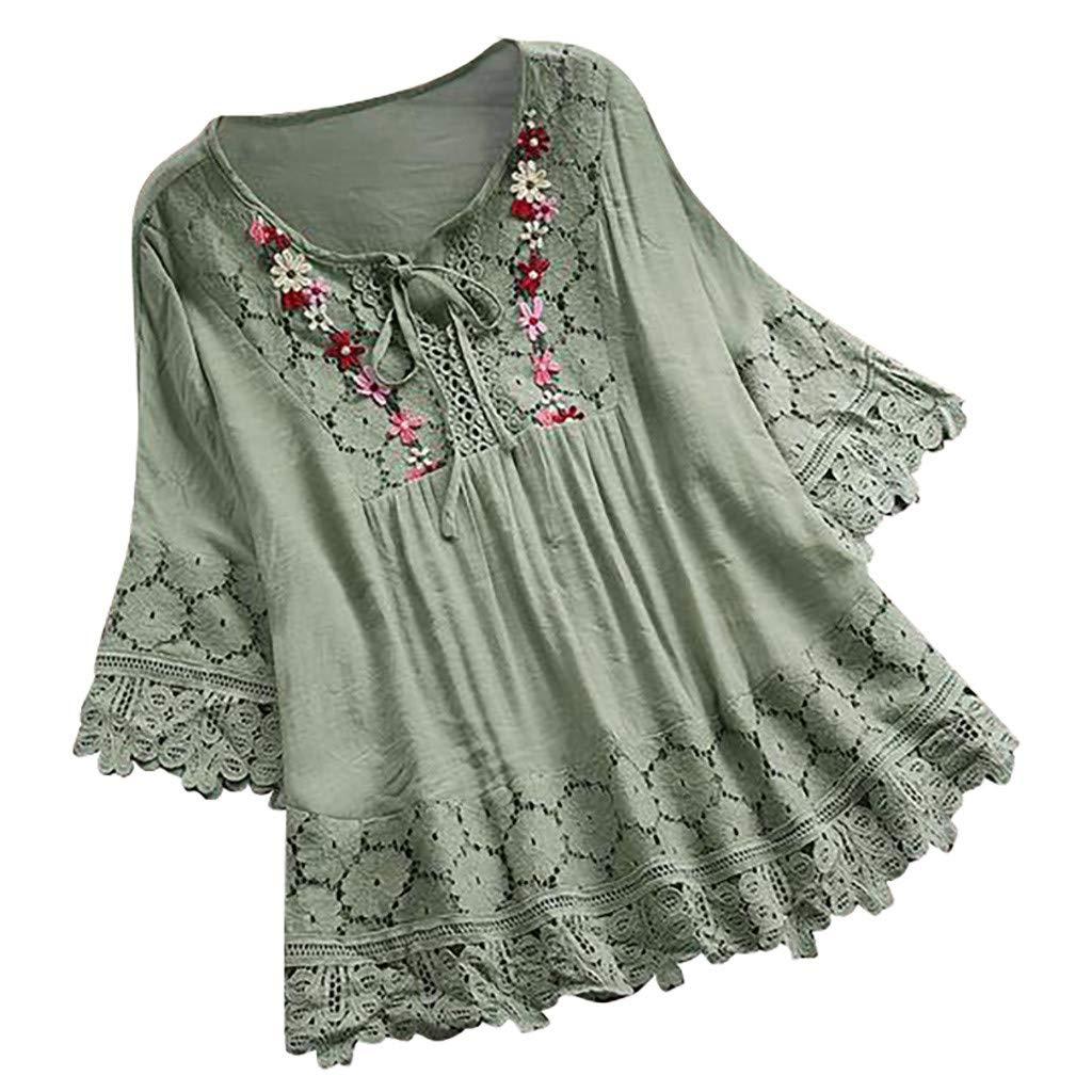 Quartly Fashion Womens Plus Size Cold Shoulder Patchwork Dot Striped Printed T-Shirt(Green,XL)