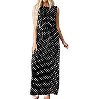 Toponly - Vestido largo para mujer, casual, sin mangas, con estampado de lunares, estilo clásico, para verano, playa, Negro, L, 1
