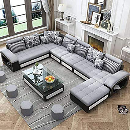 Best furniture Living and Dining Hall Nylon U Shape Sofa Set 3+2+2, Corner,  4 Pease Puffy, Dewan, Standard Size- Silver