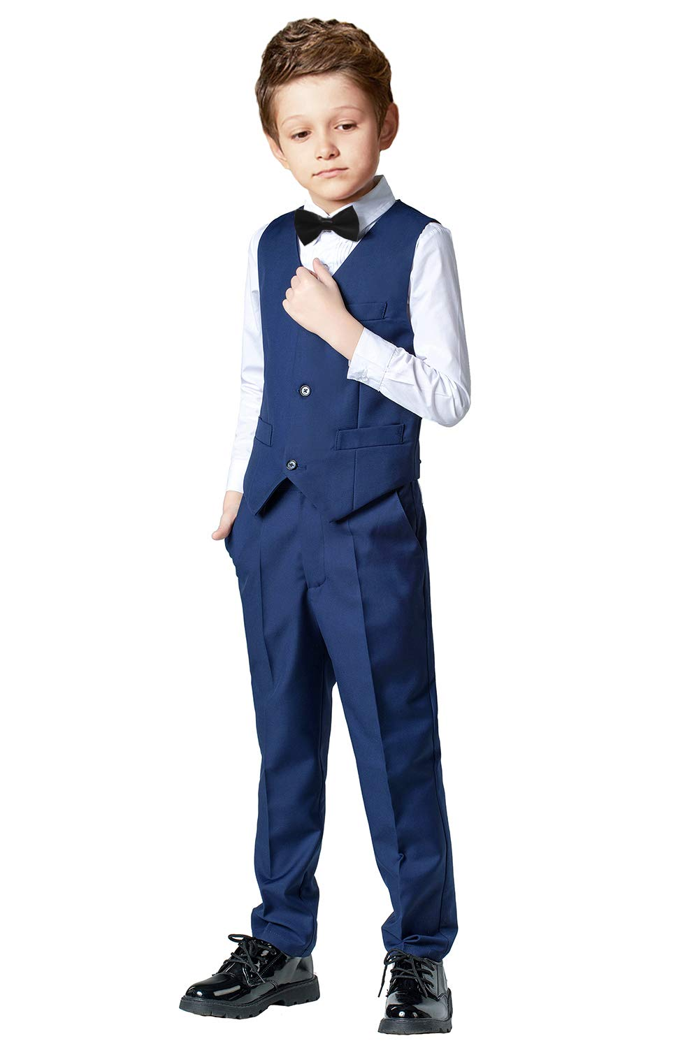 Toddler Suits for Boys Wedding Suit Dress Shirt Navy Blue Vest and Pants Sets for Boy with Bow Tie Size 10