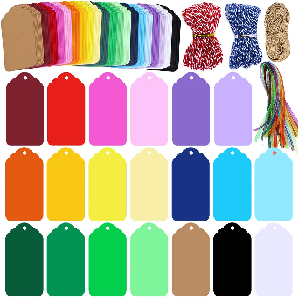 Supla 200 Pcs 20 Colors Gift Tags Sign with String Party Favor Paper Tags Escort Cards Wishing Tree Tags Name Place Cards Hanging Sign Tags Price Tags Labels Treats Tags Scrapbook Cards with Hole by Supla