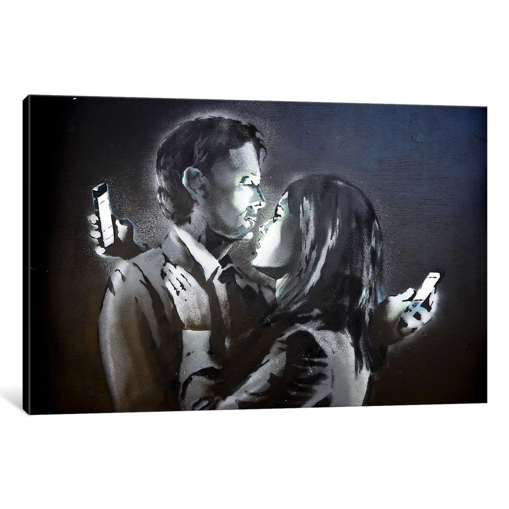 iCanvasART BNK84-1PC3-12x8 Icanvas Mobile Lovers #3 Print by Banksy, 26'' x 0.75'' x 40''