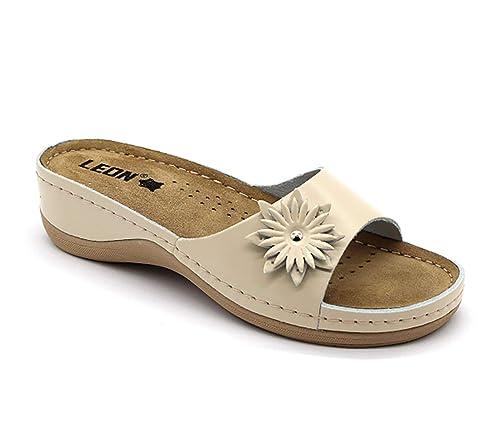 mejor selección de Venta de liquidación 2019 vista previa de LEON 915 Sandalias Zuecos Zapatos Zapatillas de Cuero para ...