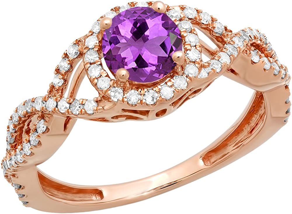 Dazzlingrock Collection 14K 6 MM Round Gemstone /& Diamond Ladies Swirl Split Shank Halo Engagement Ring Rose Gold