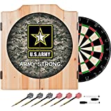 US Army Strong Camo Design Deluxe Solid Wood Cabinet Complete Dart Set