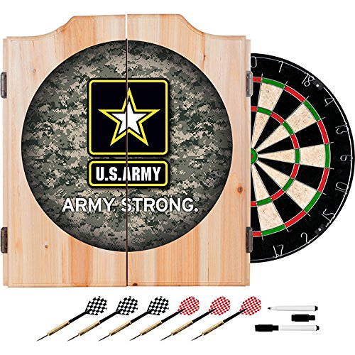US Army Strong Camo Design Deluxe Solid Wood Cabinet Complete Dart Set by TMG