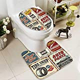aolankaili Non-slip Bath Toilet Mat Vintage car service metal signs and posters vector in Bathroom Accessories