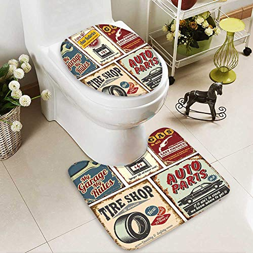 aolankaili Non-slip Bath Toilet Mat Vintage car service metal signs and posters vector in Bathroom Accessories by aolankaili