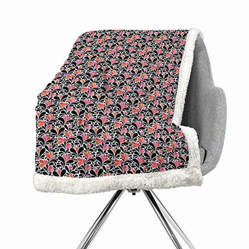 BenmoHouse Abstract Berber Fleece Light Thermal Blanket 60 by 78 Inch Cozy, All-Season Coral Pink Black Paisley Style Pattern of Water Splashes Ombre Motifs with Floral Influences