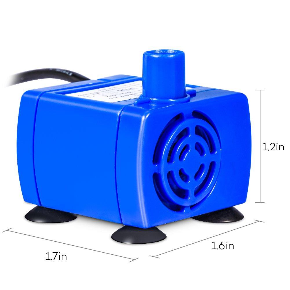 Electric Pets Pompa ad Acqua sommergibile Cavo 12/V Basso consumo di energia Super Silenzioso Nuovo Pratico per Animali Bere Fontana Decorazione di Ricambio Blu 1,8/m