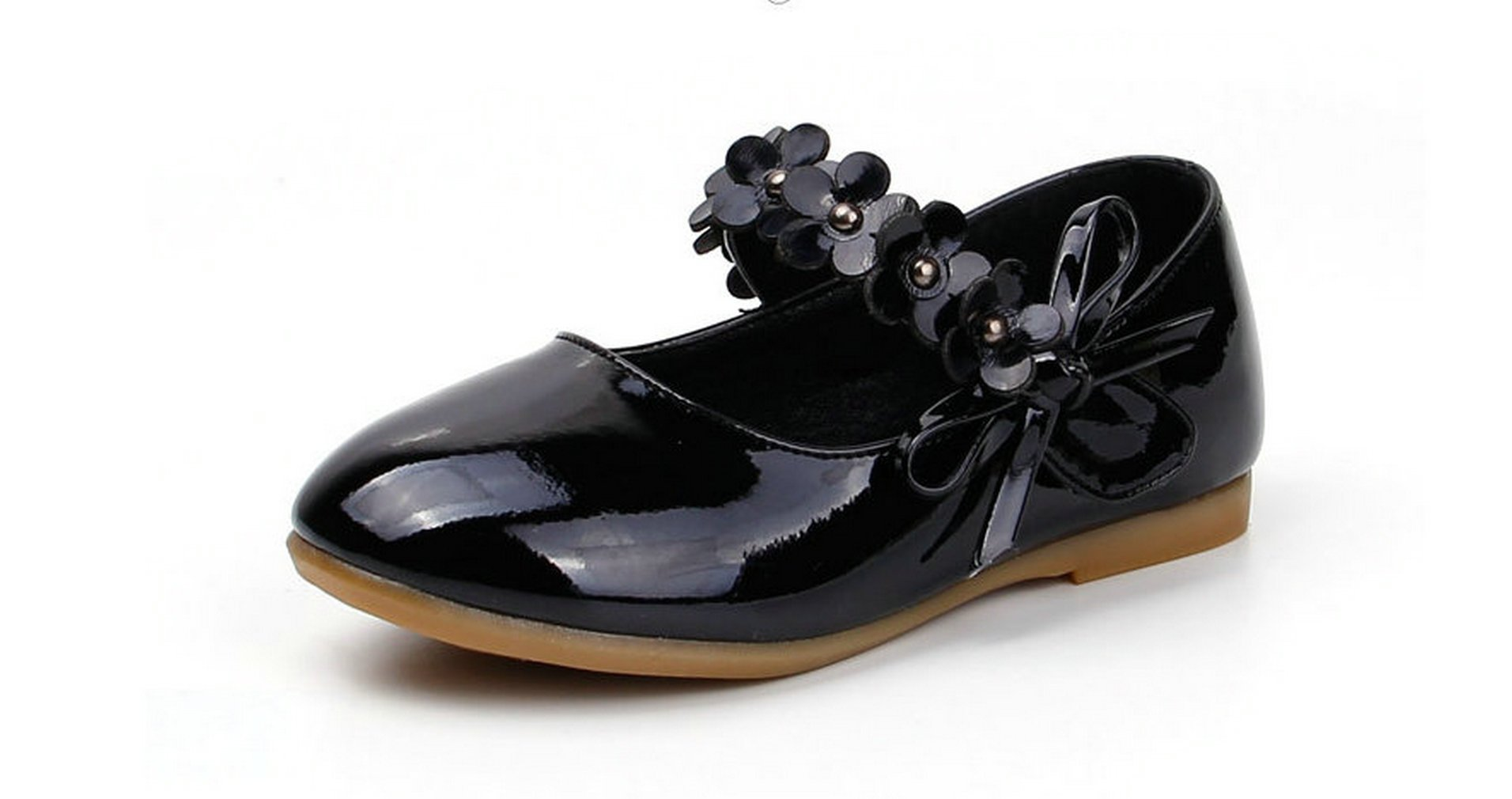 Wendy Wu Girl Ballet Ankle Strap Flats Patent Leather Shoes (11C, Black)