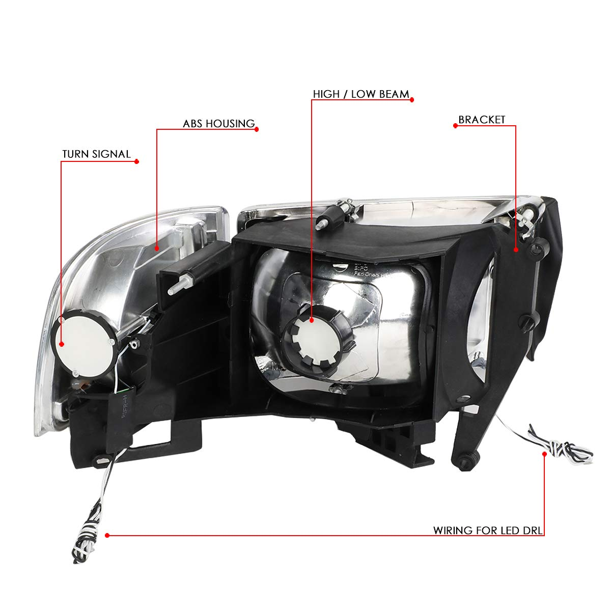 6 inch -Chrome 2007 Gmc ENVOY WO AIR CURTAIN Door mount spotlight Driver side WITH install kit LED