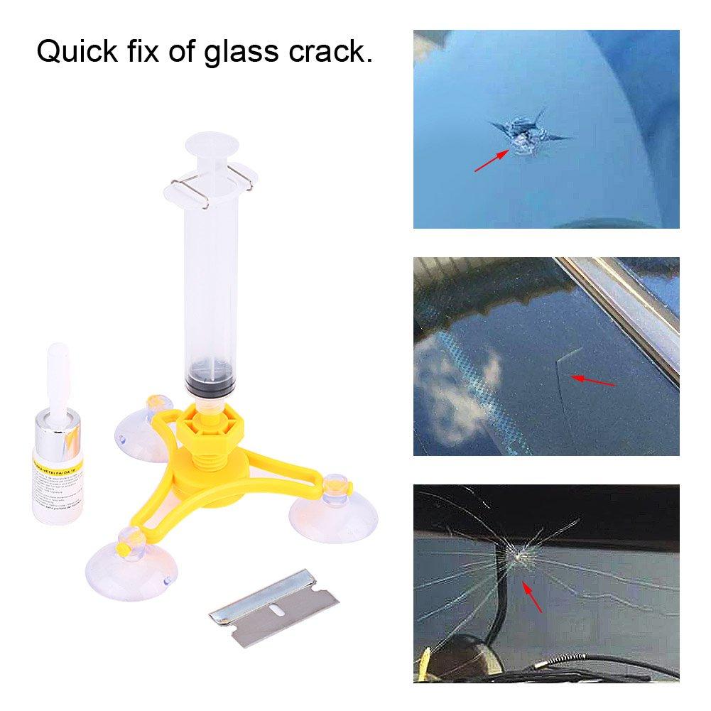 Aramox Kit de r/éparation de pare-brise auto voiture scellant r/ésine fissure scellant pare-brise restauration ensemble Triangulaire