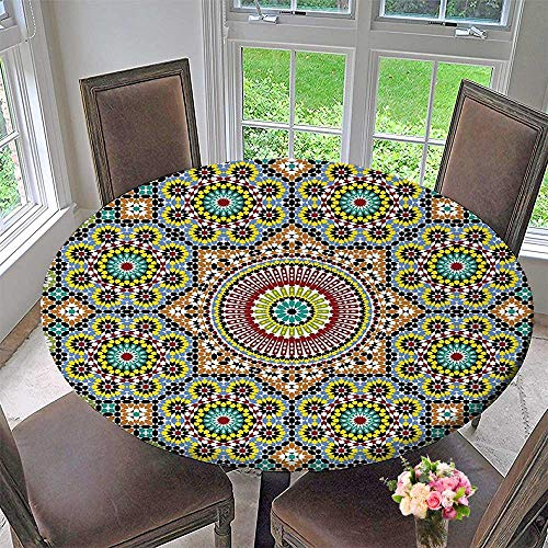 Luxury round table cloth for home use Collection Aged Old Arabic Design Arabian Cultural Engraving Art History Tourist Attraction Image for Buffet Table, Holiday Dinner 63