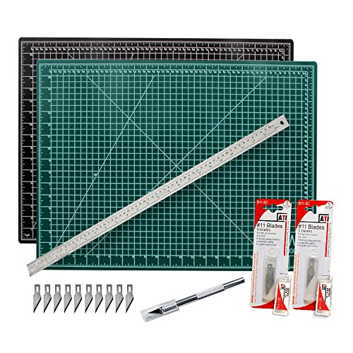 Cutting Mat with Craft Knife and Ruler Set - Professional 24X18 Self Healing Double Sided Rotary Mat Precision Hobby Knife with 10 Easy Replacement Blades and 24 Inch Steel Corked (Slice Cutting Mat)