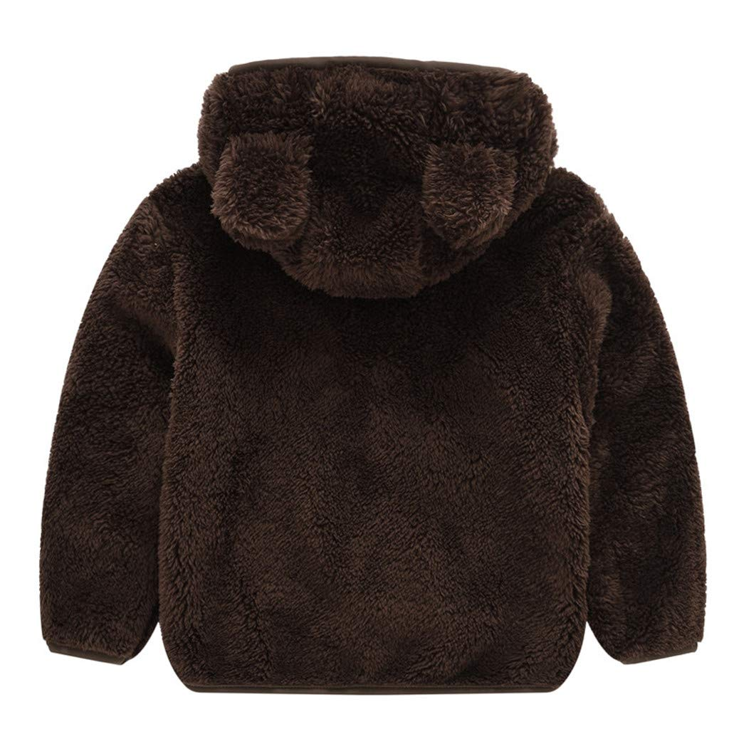 Moonker-Baby Tops Toddler Boy Girl Fleece Jacket Ear Zipper Hooded Coat Kids Autumn Winter Warm Clothes Outwear 1-4 Years