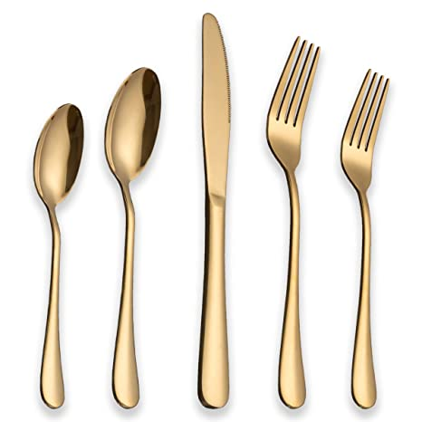 Berglander Flatware Set 20 Piece Stainless Steel With Titanium Gold Plated Golden Color Flatware  sc 1 st  Amazon.com & Amazon.com | Berglander Flatware Set 20 Piece Stainless Steel With ...