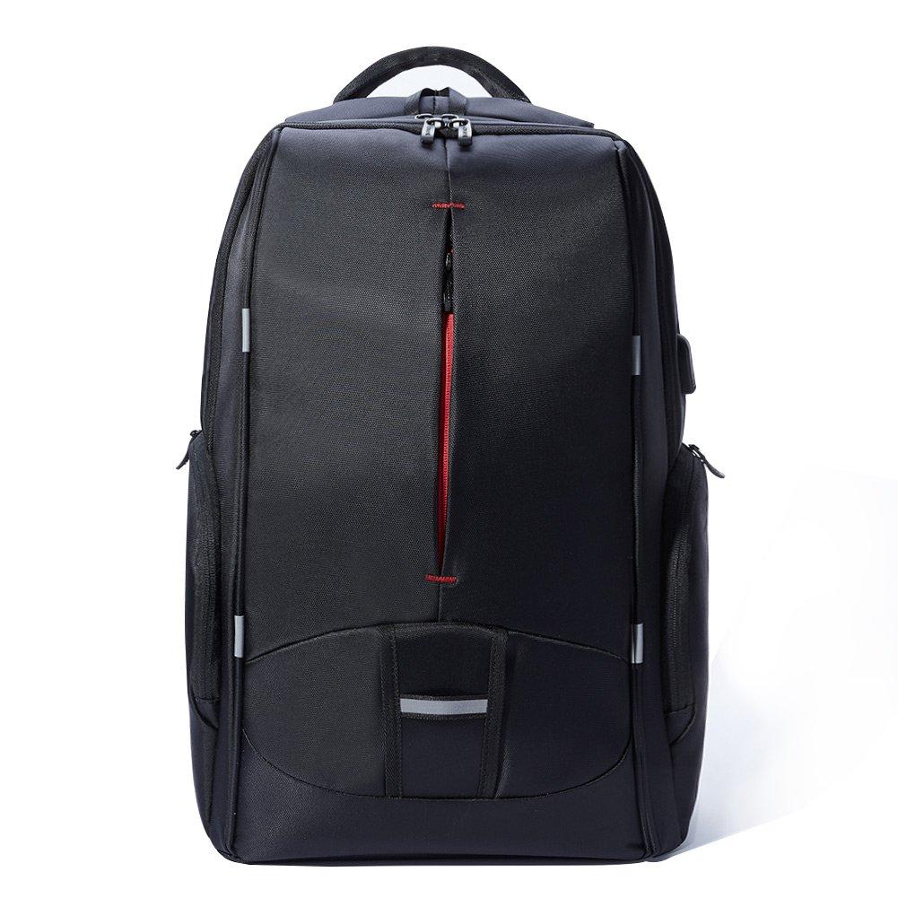 17.3 Inch Laptop Backpack with USB Port,KALIDI Waterproof Rucksack Lightweight Notebook Bag Hiking Knapsack Student Backpack,Black