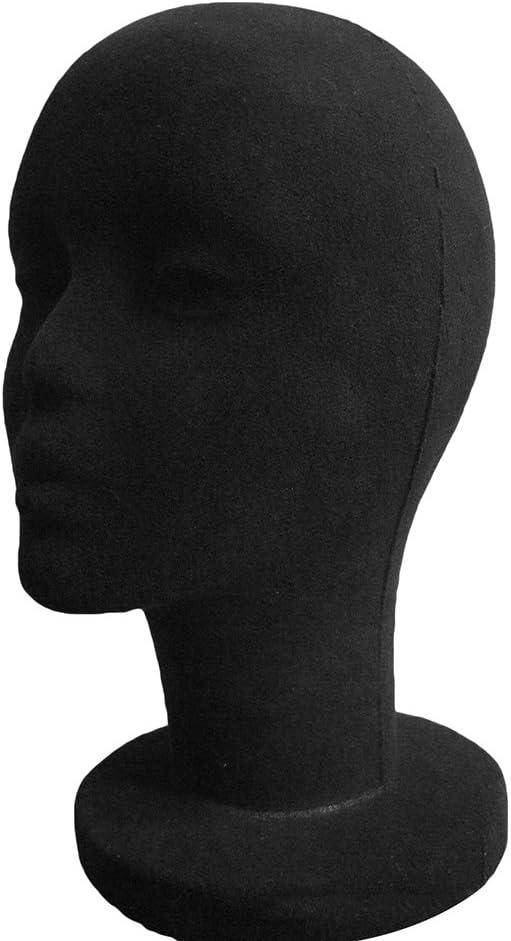 happyhouse009 Foam Female Mannequin Head Manikin Headset Model Wig Hair Display Stand Black