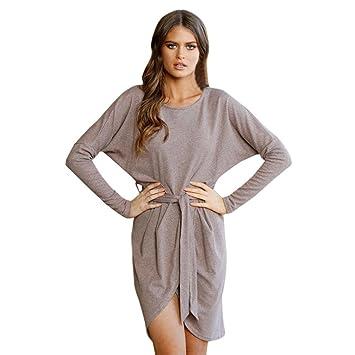 38230b108c5d Robe Femmes Hiver Chandails Robe Femme Solide Chandail O-Neck Chemise  longue Pull Robe Femmes