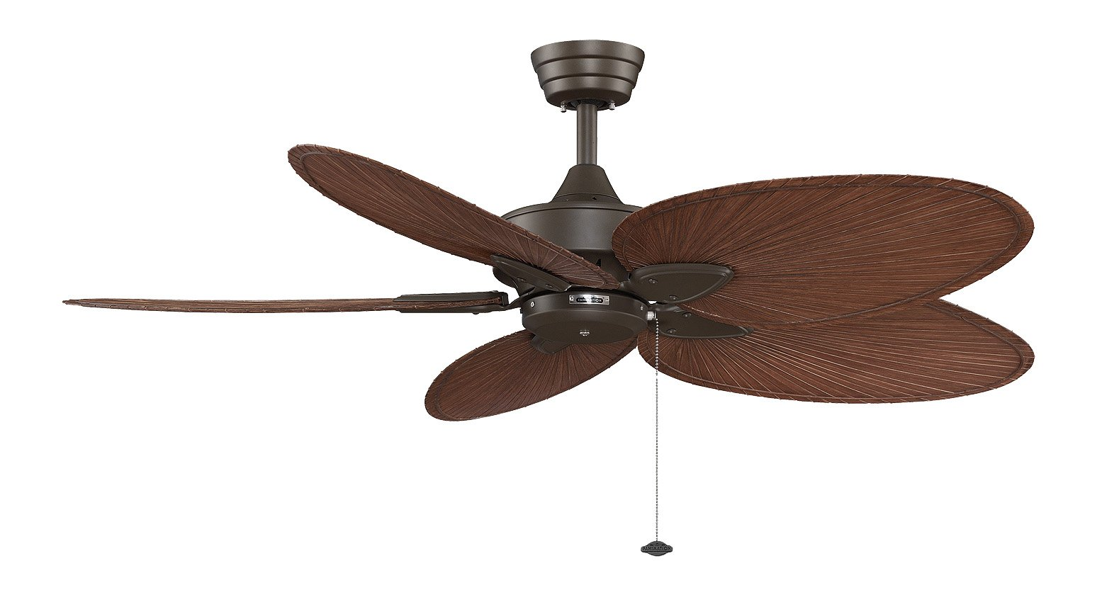 Fanimation Windpointe - 22 inch - Oil-Rubbed Bronze with Brown Narrow Oval Blades with Pull-Chain - FP7500OBP4