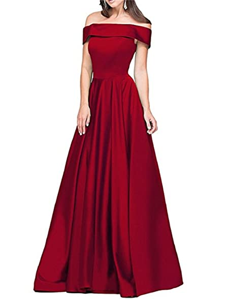 NewFex Shoulder Prom Dress with Pocket Strapless Long Evening Satin Gown
