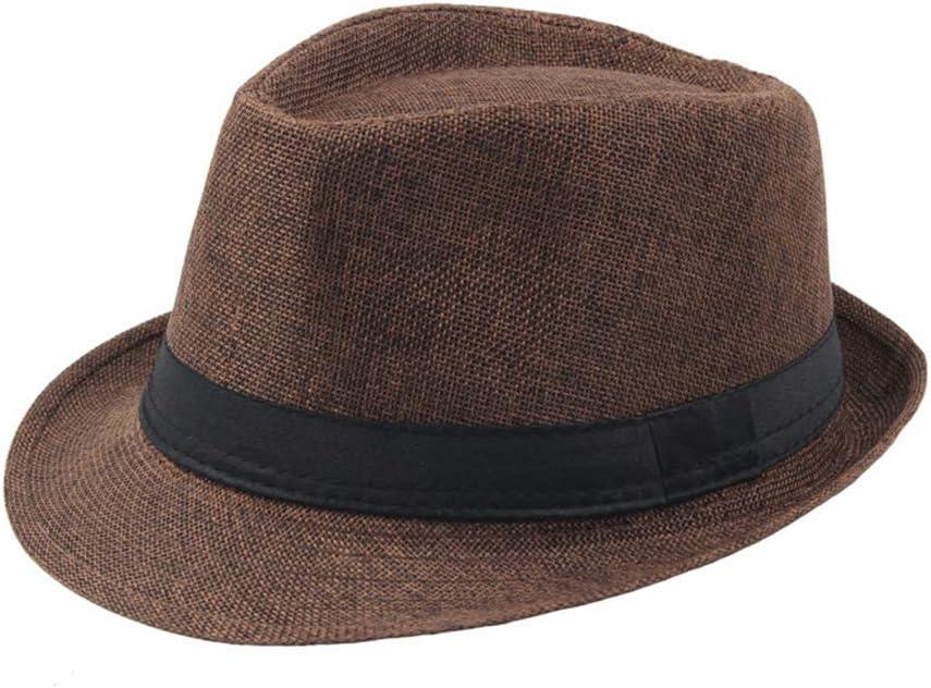 Rubyyouhe8 Hat Set,Head Decor Men Solid Color Wide Brim Fedora Felt Hat Panama Cap Boater Summer Beach Sunhat