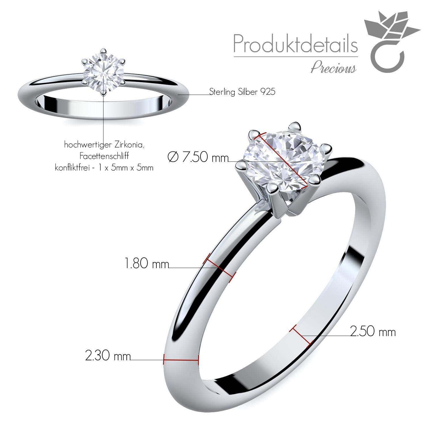 Engagement Ring Set With Swarovski Crystal Luxury Case And