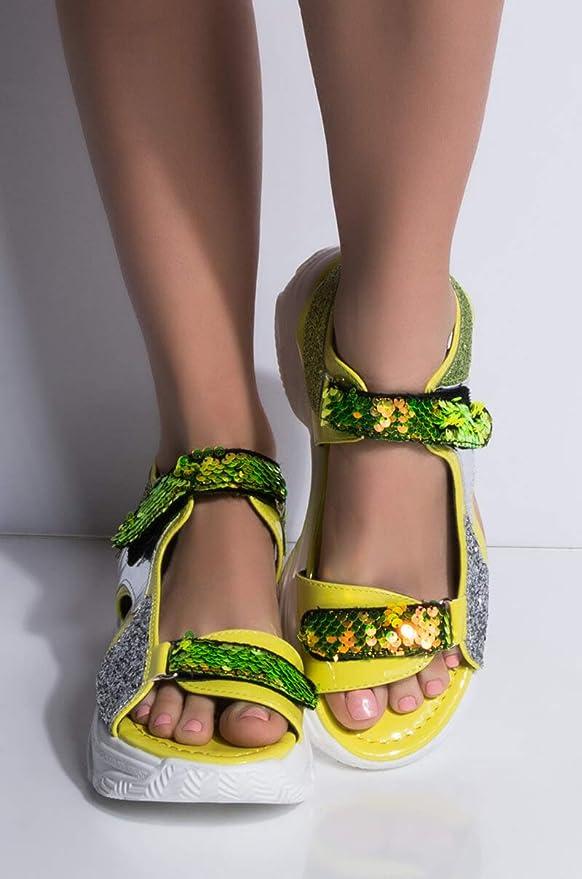 94cf803ce6f6d CAPE ROBBIN Sequin Glitter Velcro Straps Sporty Chunky Sole Flatform Sandals