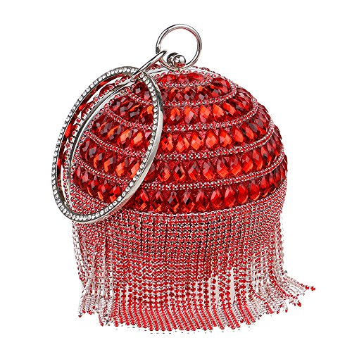 Ballon Sac Robe Diamond Soirée à Main Dames Red Métal Bague Main Sac En Rond Bracelet Pochette Gland à PxXwHdfq