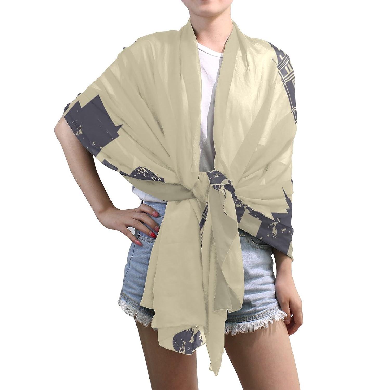 Lightweight Shawl Wrap Sheer Scarves,Night City,Oblong Chiffon Scarf
