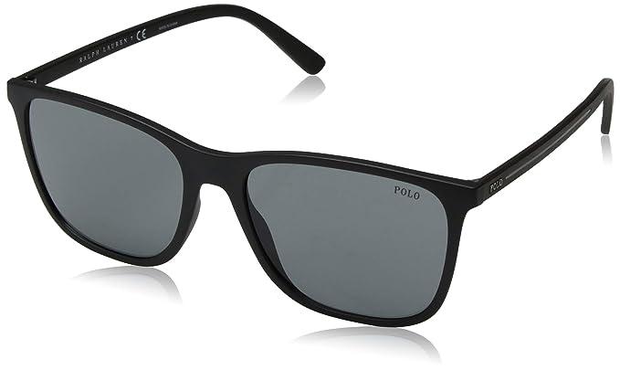 Polo 0PH4143 Gafas de sol, Rectangulares, 57, Matte Black ...