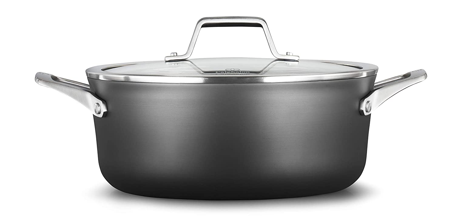 Calphalon 2029619 Premier Hard-Anodized Nonstick 5-Quart Dutch Oven with Cover, 5 QT Black