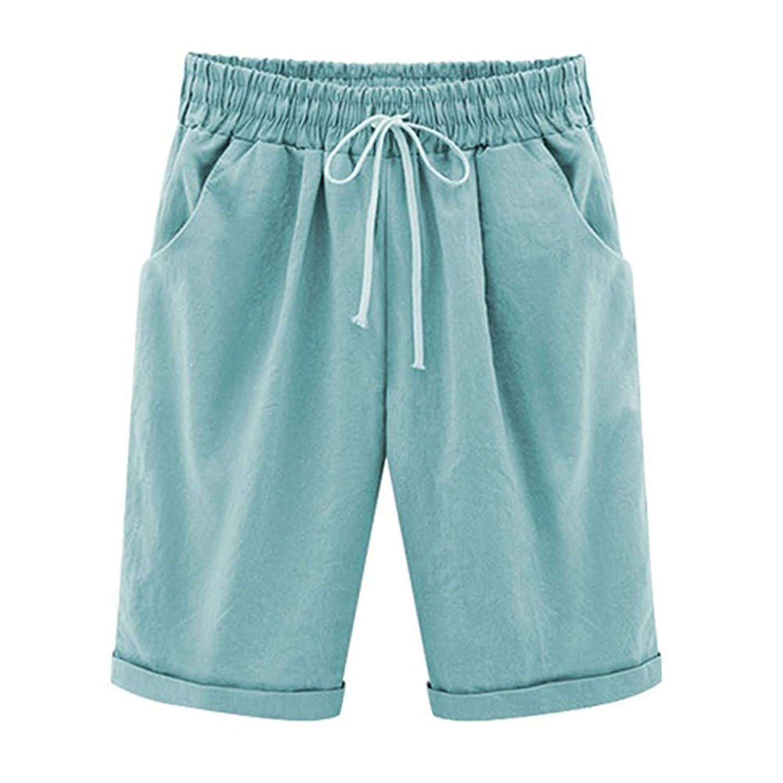 d8c0d0fe91c0ae Bermuda Shorts Damen Knielang Sommer Kurze Hose mit Gummizug Frauen Große  Größen Loose Stoffhose Stretch durable