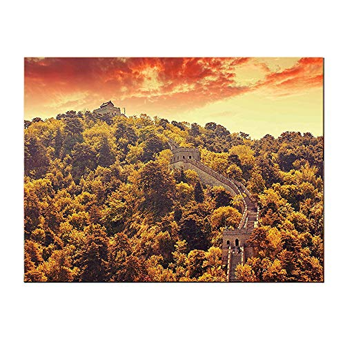 SATVSHOP Canvas Art posters-48Lx24W-Great Wall of China Mitianyu Section Vintage Tribal Construction in TRE Old Landscape Green Orange.Self-Adhesive backplane/Detachable Modern Decorative. (Great Wall Of China Periods Of Construction)