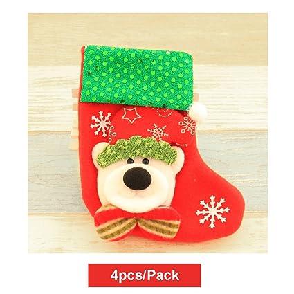 Kry Juego de 4 papel belleza Mini calcetines de regalo de Navidad medias calcetines para colgar