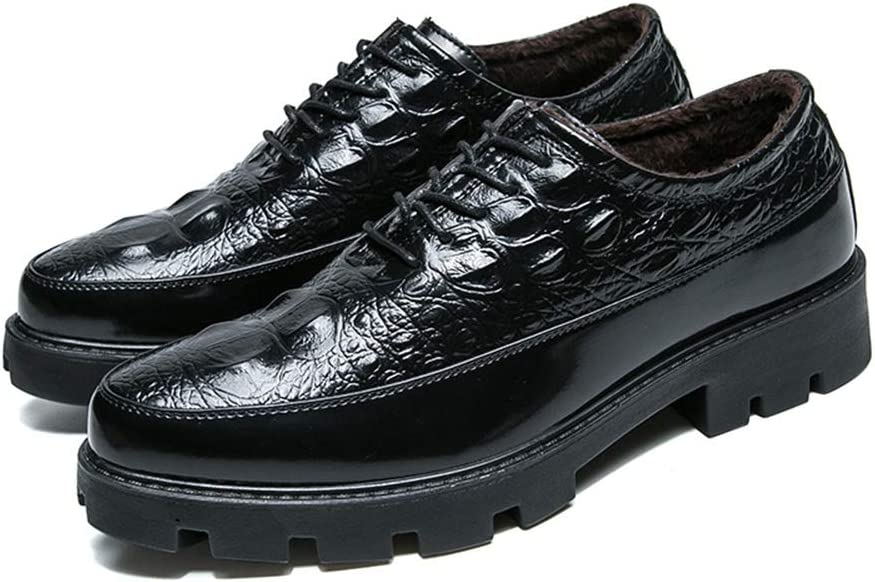 Gobling Mens Oxfords Comfort Warm Casual Shoes Fashion Crocodile Texture Stitched Prom Dress Shoes Color : Black, Size : 7 M US