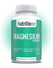 Magnesium Glycinate 400 mg by Nutritionn - Premium Natural Health Supplement - Health Canada Licensed Product