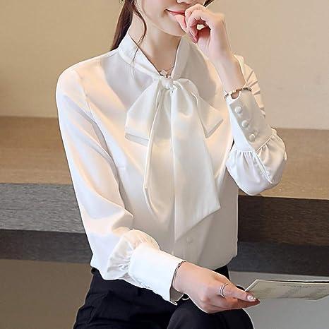 DJSHXC Blusa de satén para Mujer Botón de Manga Larga Soporte marrón Blanco Pajarita con Cordones Señoras Trabajo de Oficina Blusas de satén para Mujer Camisas: Amazon.es: Deportes y aire libre
