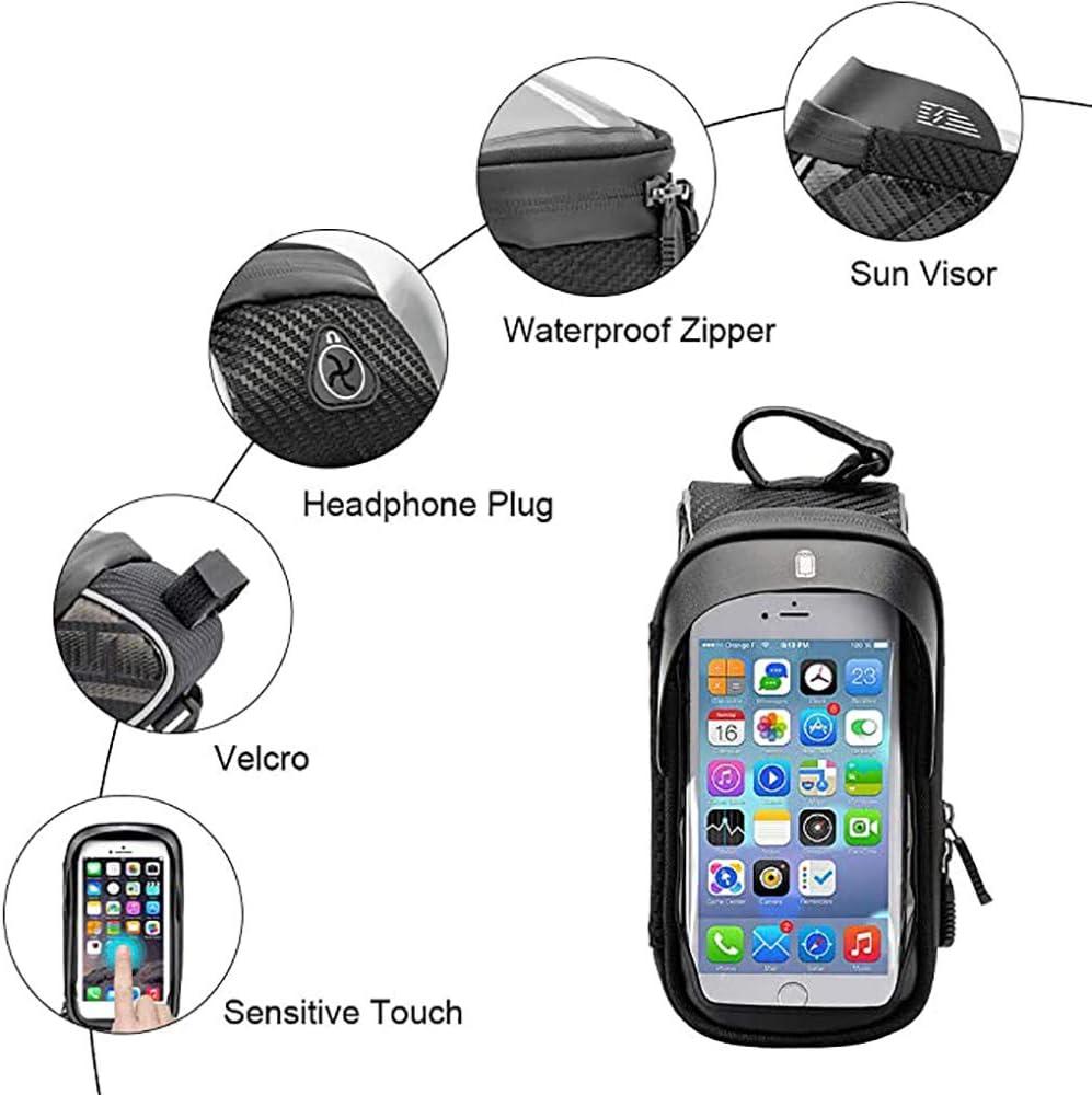 Waterproof Sun Visor Top Tube Bicycle Frame Bag with TPU Touchscreen Phone Holder for iPhone X XS XR iPhone 7 8 Plus Max PULNDA Bike Phone Front Frame Bag