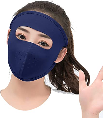 Black Summer Full Face Mask Sports Sun UV Protection for Men and Women,Ultra Thin Ice Silk Breathable Sunscreen Sun Hood Tactical Masks for Camping//Cycling//Motorcycling//Hiking Size:22.5x15.5cm