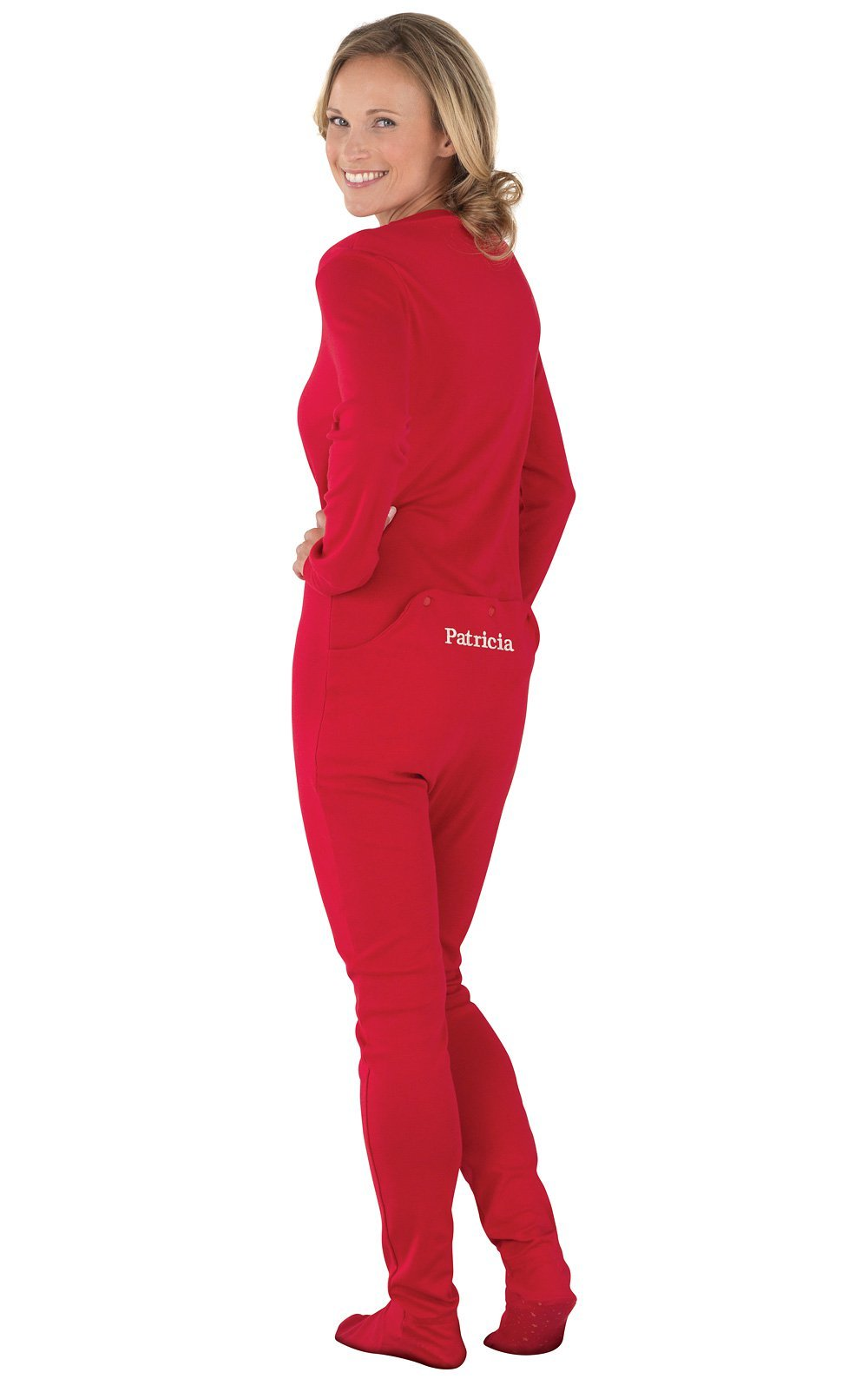 PajamaGram Personalized Women's Cotton Dropseat Footie Pajamas, Red, Sml (4-6)