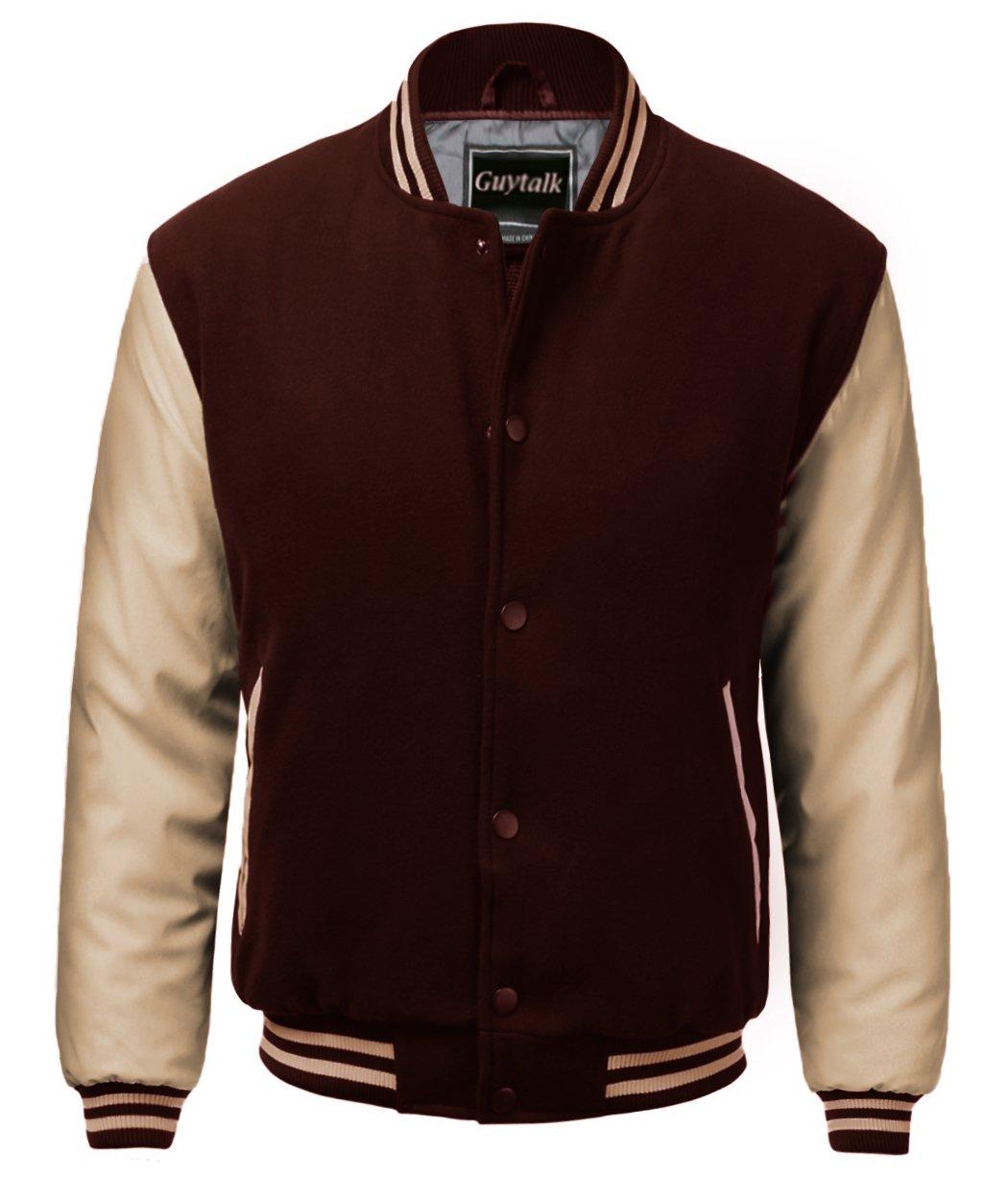 Guytalk Men's Letterman Style Premium Thick Fabric Varsity Baseball Jacket Medium BROWNKHAKI