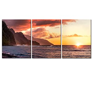 Visual Art Decor 3 Pieces Tropical Sea Napali Coast Sunset Kauai Hawaii Scenery Canvas Wall Art Framed and Stretched Picture Prints Living Room Decoration