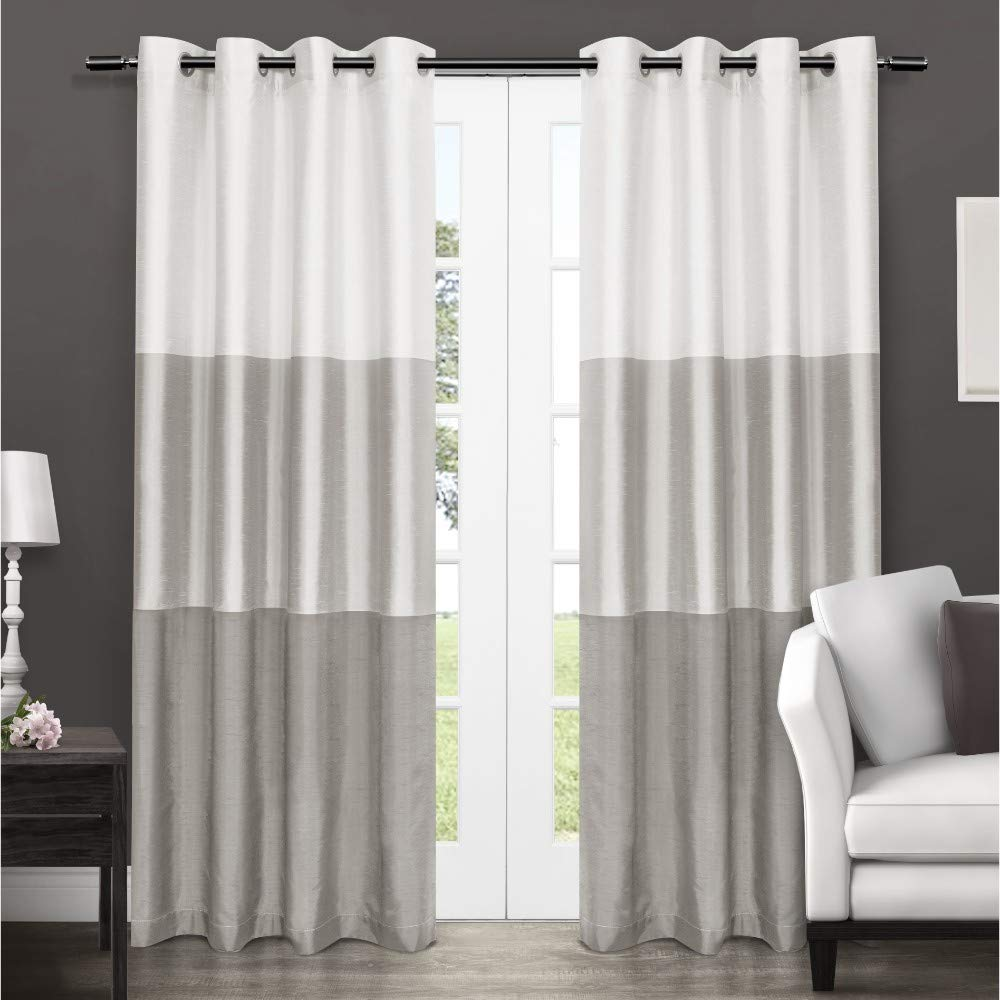 Exclusive Home Curtains Chateau Striped Faux Silk Window Curtain Panel Pair with Grommet Top, 54x96, Dove Grey, 2 Piece