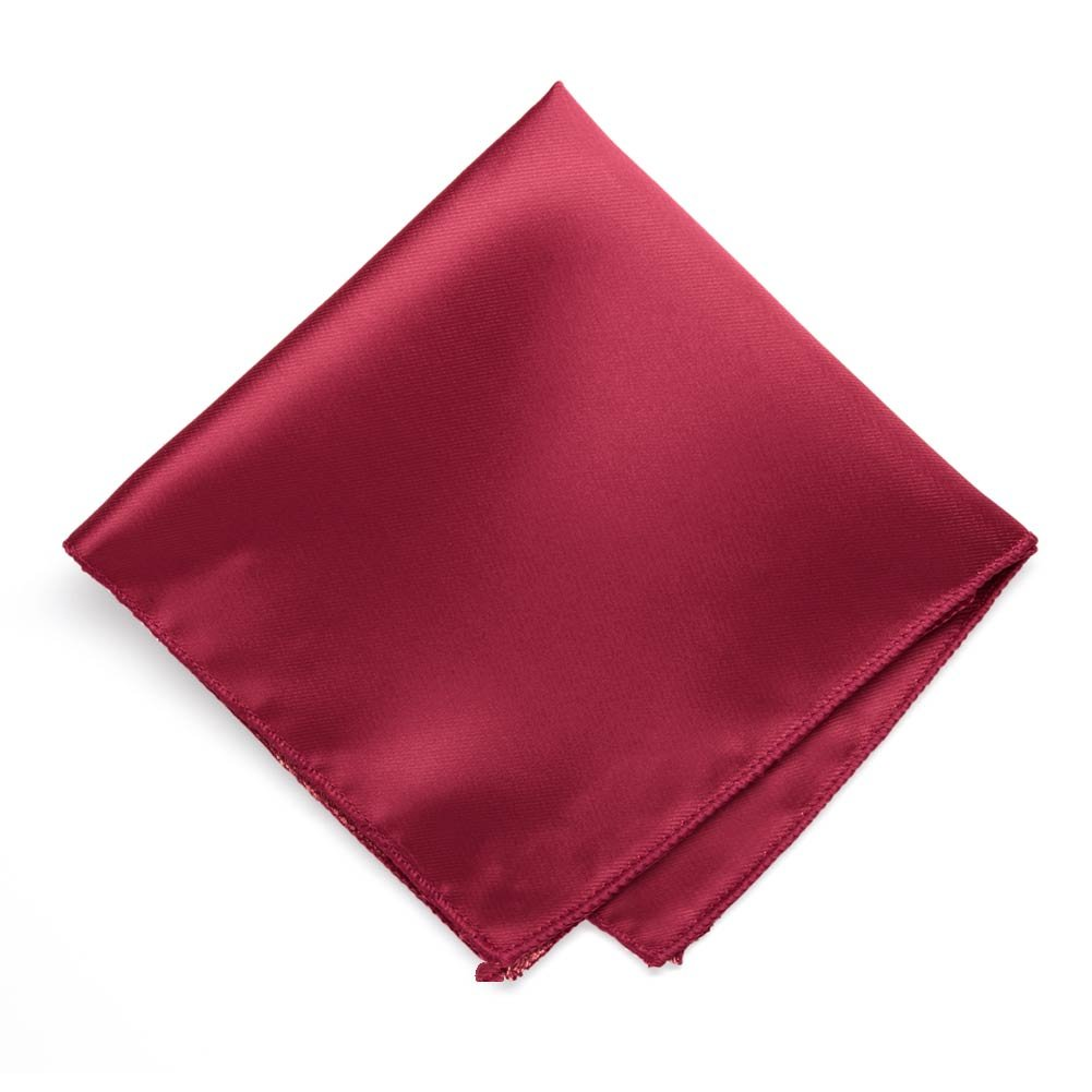 TieMart Crimson Red Solid Color Pocket Square