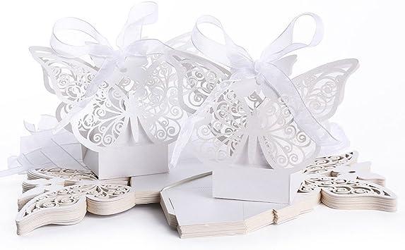 ULTNICE 50pcs Folable mariposa 3D cajas de regalo de dulces para fiesta de boda con cintas blancas: Amazon.es: Bricolaje y herramientas